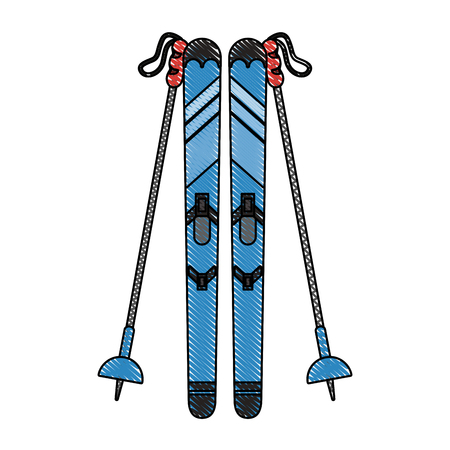 Snow skis equipment icon vector illustration graphic design Illustration
