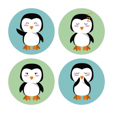 rounds: Cute penguin cartoon icon vector illustration graphic design Illustration