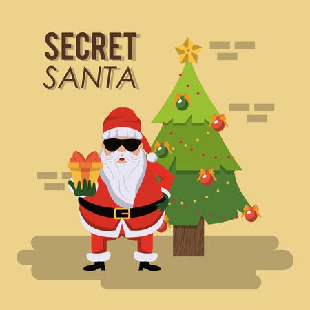 비밀 산타 만화 아이콘 벡터 일러스트 그래픽 디자인