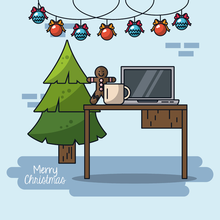 Christmas in office icon Illustration
