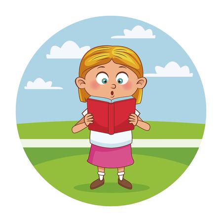 学校の女の子かわいい漫画のアイコン ベクトル イラスト グラフィック デザイン  イラスト・ベクター素材