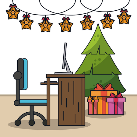Christmas in office icon vector illustration graphic design