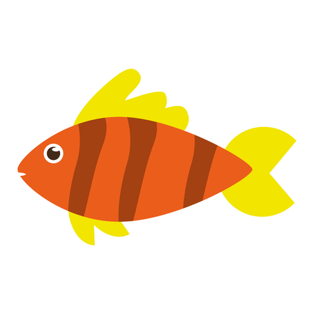 Fish in yellow orange side view colorful icon image in cartoon illustration design.