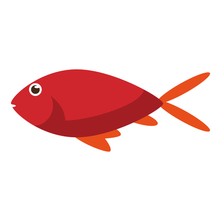 Red fish side view icon image in cartoon illustration design.