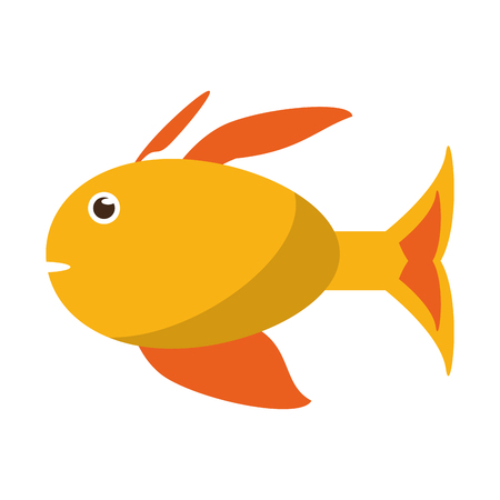 Yellow fish side view icon image in cartoon illustration design.