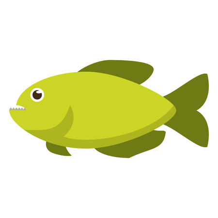Green fish side view icon image in cartoon illustration design.