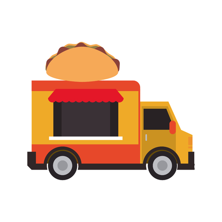 Food truck icon image colorful cartoon illustration design
