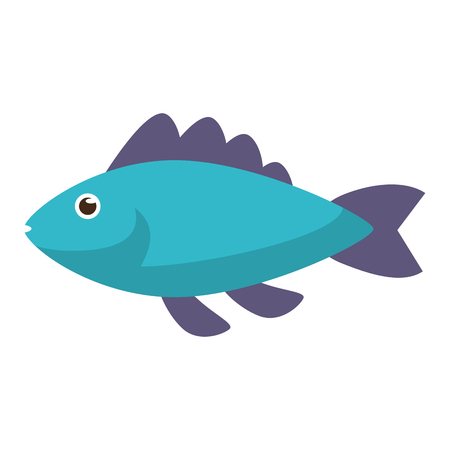 Blue fish side view icon image in cartoon illustration design