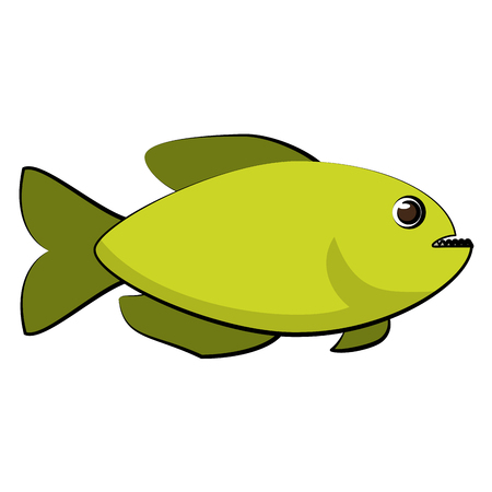 Green fish side view icon image in cartoon illustration design