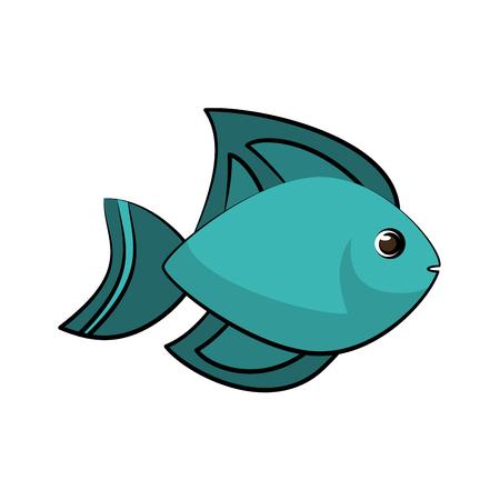 만화 일러스트 디자인에 파란색 물고기 측면보기 아이콘 이미지