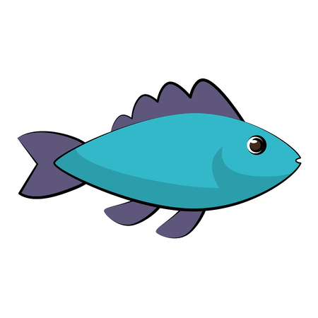 Blue fish side view icon image in cartoon illustration design. Ilustração