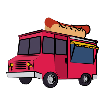 Hotdog food truck icon image in colorful cartoon illustration design.