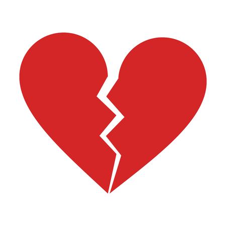 A broken heart cartoon icon vector illustration.