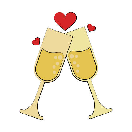 champagne glasses toasting with hearts wedding related icon image vector illustration design Illustration