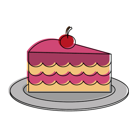 cake slice with cherry on top pastry icon image vector illustration design