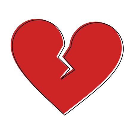 A broken heart cartoon image vector illustration design