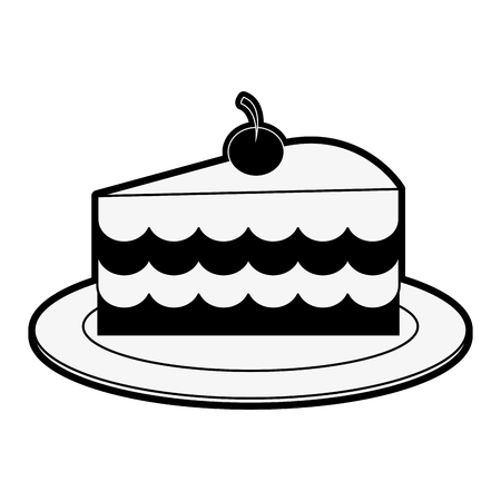 cake slice with cherry on top pastry icon image vector illustration design  black and white