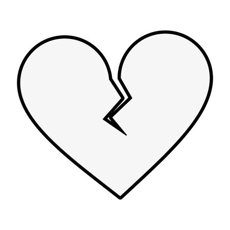 깨진 된 마음 만화 아이콘 이미지 벡터 일러스트 디자인 흑백 일러스트