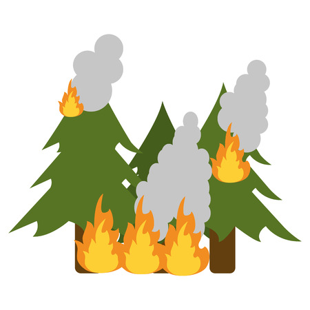 devastation: A pine tree forest on fire icon vector illustration.