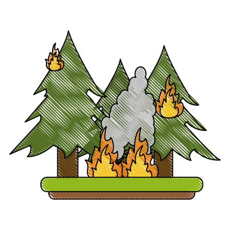 A forest in fire icon vector illustration.