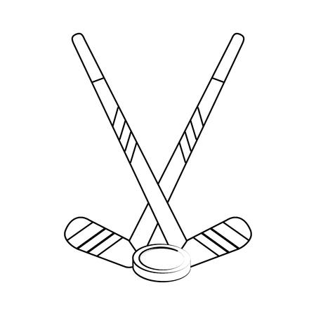 striker: Hockey sticks and puck icon vector illustration graphic design Illustration