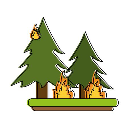 devastation: pine tree forest on fire icon image vector illustration design