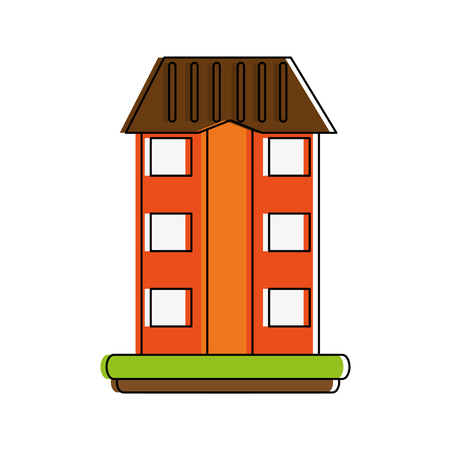 A building on grass icon image vector illustration design.