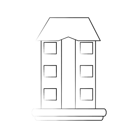 Sketch of a building on grass icon image vector illustration design.