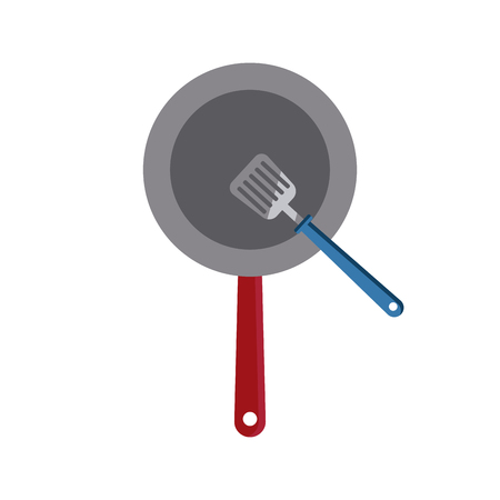 turner: Skillet and turner kitchen utensils icon vector illustration graphic design Illustration