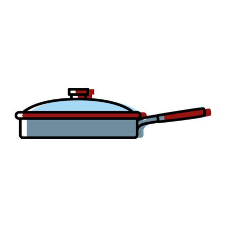 Pan with lid kitchen utensil icon clip-art design illustration.