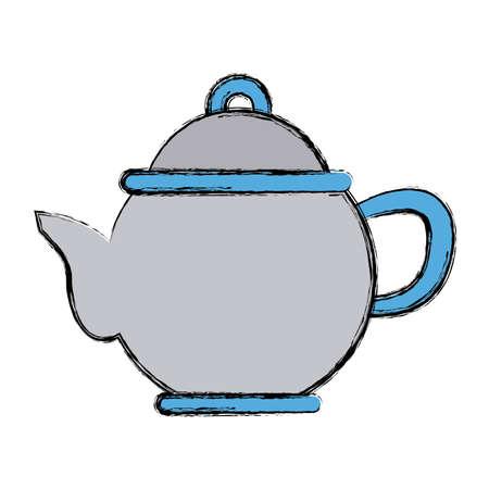 modern kitchen: Porcelain teapot utensil icon.