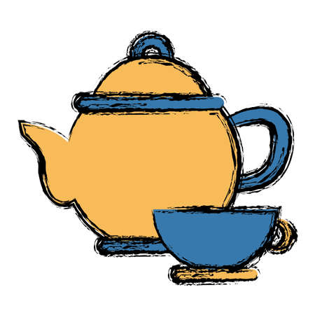 modern kitchen: Porcelain teapot and cup utensil icon.
