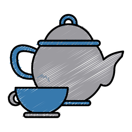 modern kitchen: Porcelain teapot and cup utensil icon illustration graphic design. Illustration