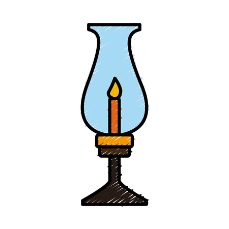 Old lantern with candle icon illustration graphic design.