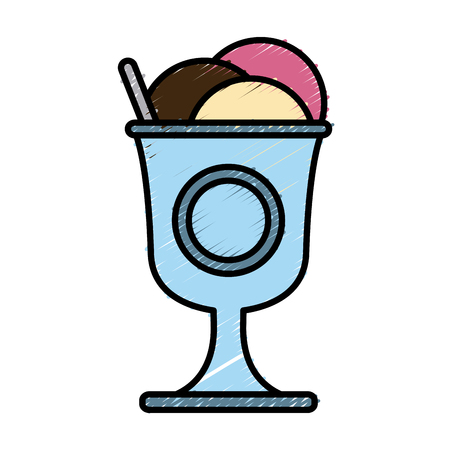 Ice cream cup icon illustration graphic design.