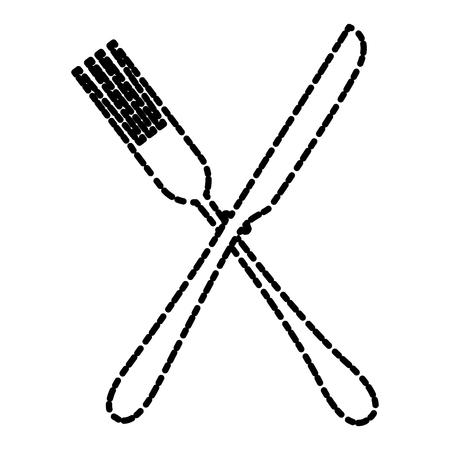 modern kitchen: Fork and knife kitchen cutlery icon.