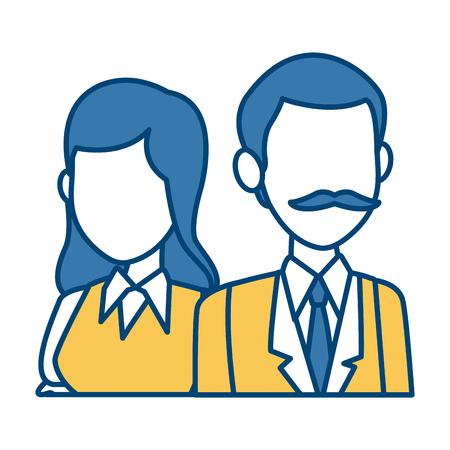 Teachers teamwork couple icon vector illustration