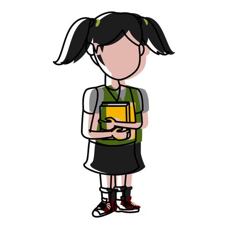 School girl cartoon icon vector illustration Illustration