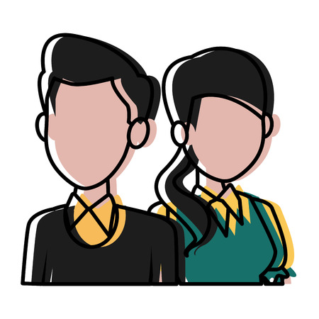 Teachers teamwork couple icon vector illustration Stock Vector - 88358506