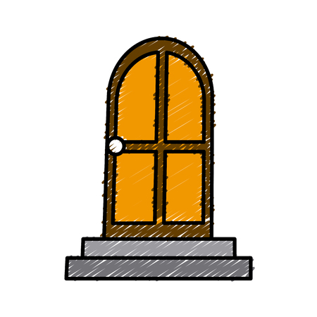 House door isolated icon vector illustration graphic design