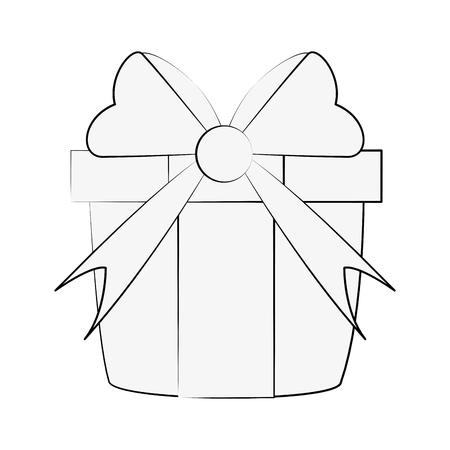 coffret cadeau avec ruban arc icône image de conception vecteur de conception noir croquis de couleur