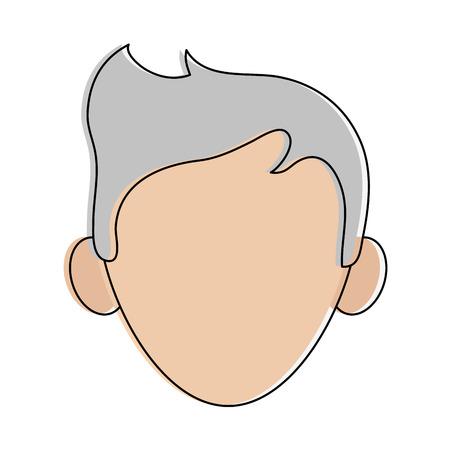 Man with grey hair avatar head icon image vector illustration design.