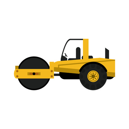 steamroller heavy machinery construction icon image vector illustration design Illustration