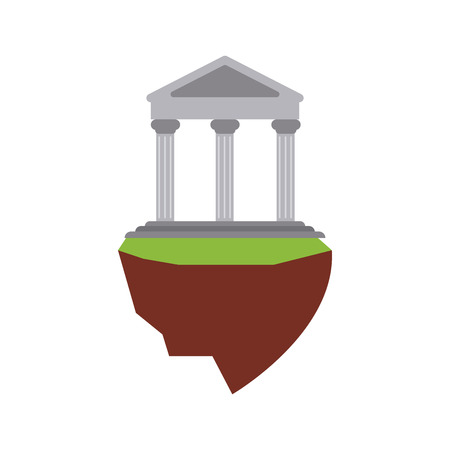 ancient greek building on floating land icon image vector illustration design Illustration