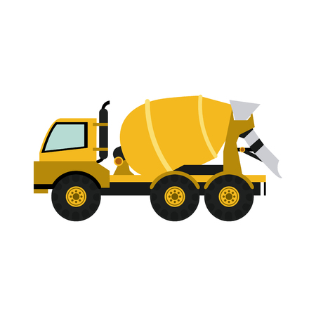 Cement truck heavy machinery construction icon image vector illustration design. Illustration
