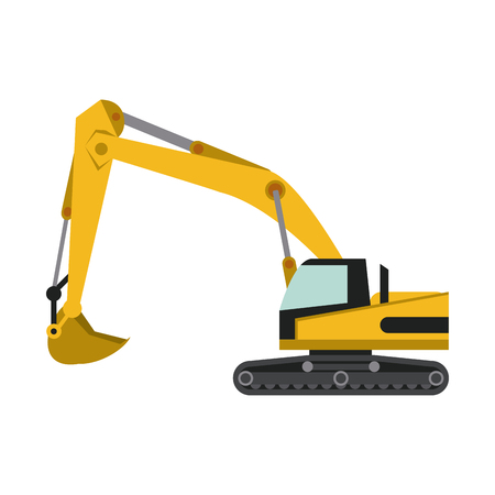 Backhoe heavy machinery construction icon image vector illustration design.