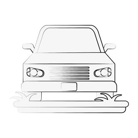 geparkeerde auto frontview pictogram afbeelding vector illustratie ontwerp zwarte schets lijn Stock Illustratie