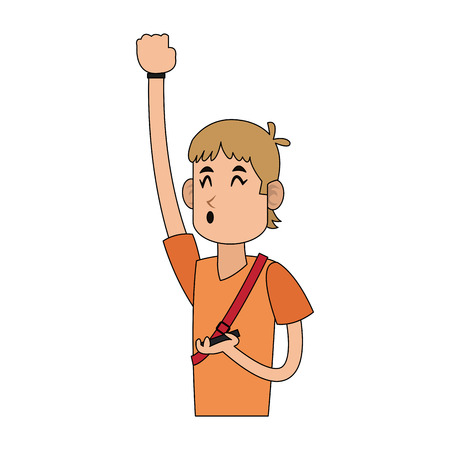 man excited using cellphone icon image vector illustration design