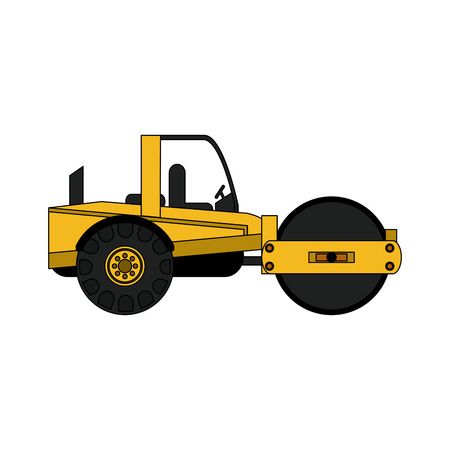 quarry: steamroller heavy machinery construction icon image vector illustration design Illustration