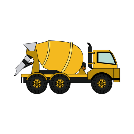 quarry: cement truck heavy machinery construction icon image vector illustration design Illustration